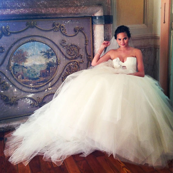 Chrissy Teigen in her wedding dress