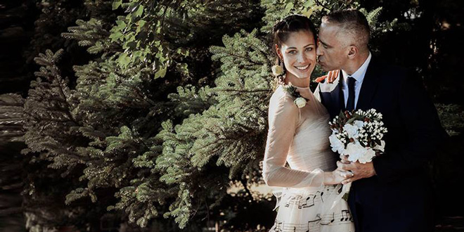 Eros Ramazzotti Bride Wore Wedding Gown With Music Notes
