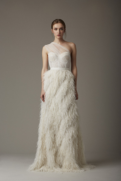 Fanciful feathers - Lela Rose, Spring 2016